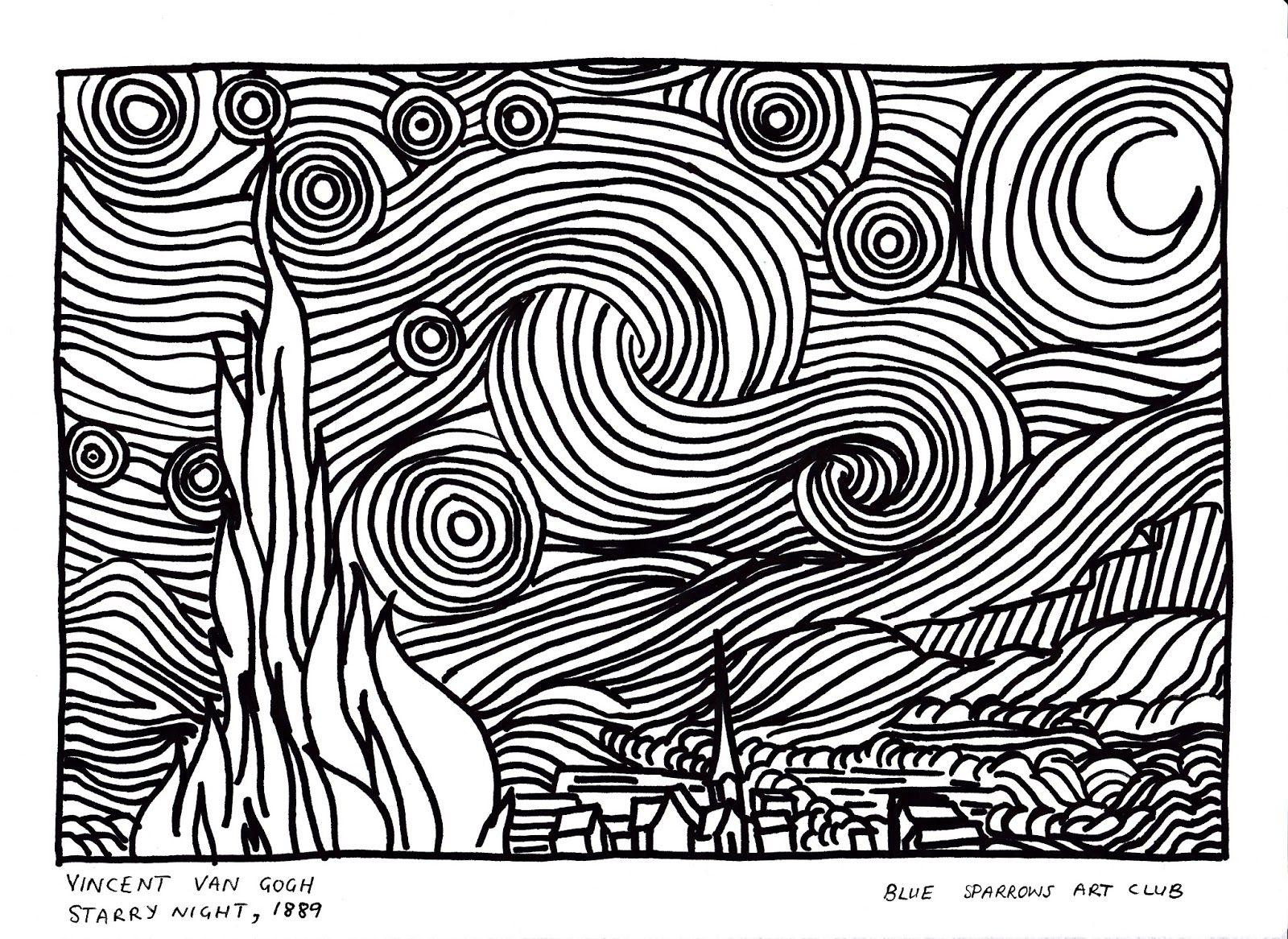 Van Gogh Starry Night Coloring Page Vincent Van Gogh