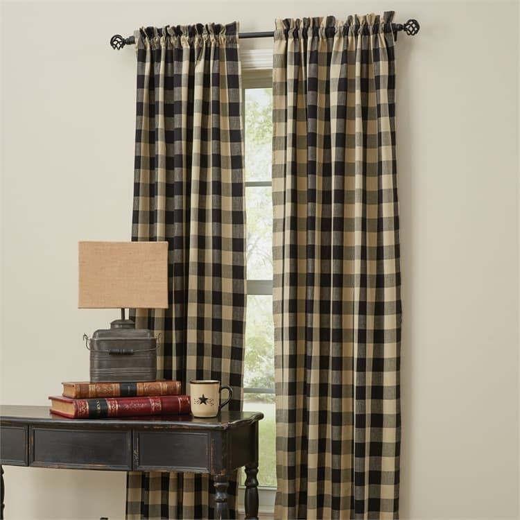 Black Wicklow Check Lined Tieback Window Curtain Panels 72 X 84