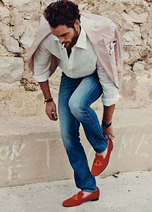 Men Fashion Awesome Fashion Dressing + Leather jacket Hot Dressing + Red  Shoes = Killer Dressing