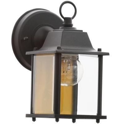 c79cd4d77f258c Hampton Bay 1-Light Black Outdoor Wall Lantern-BPM1691-BLK - The Home Depot