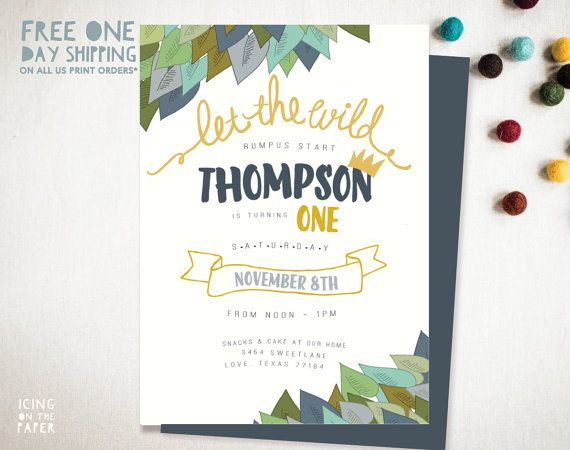 Where The Wild Things Are Invitation Baby J S Wild Thing 1st