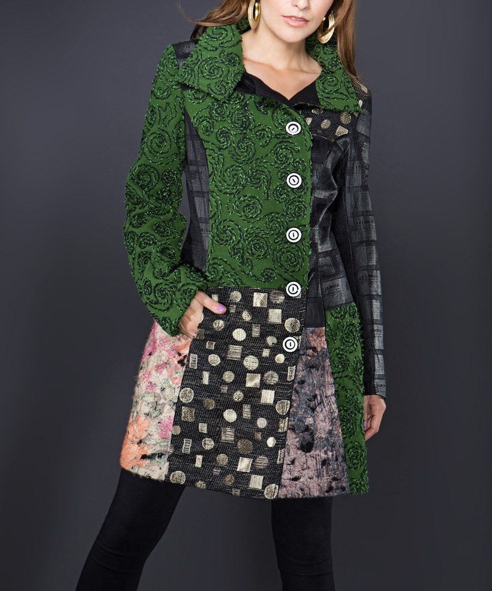 Take a look at this Forest & Black Patchwork Trench Coat on zulily today!