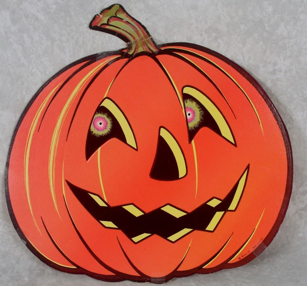 vintage beistle halloween pumpkin jack o lantern head die cut paper decoration - Halloween Vintage Decorations