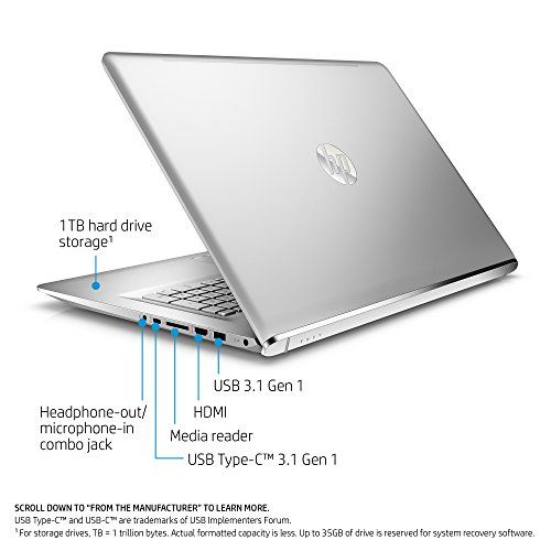 HP ENVY 17-inch Laptop, Intel Core i7-7500U, NVIDIA GeForce