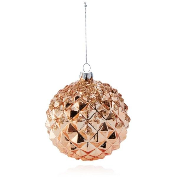 Bloomingdale s glass rose gold diamond faceted ball