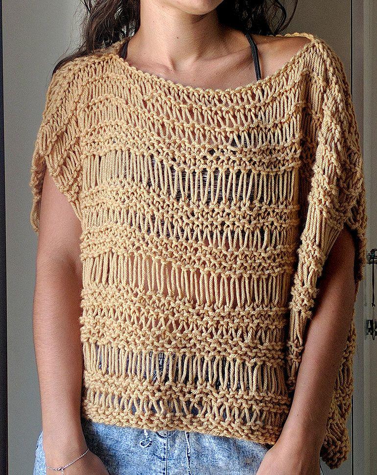 Dropped Stitch Top Pattern | Knitting patterns free, Top ...