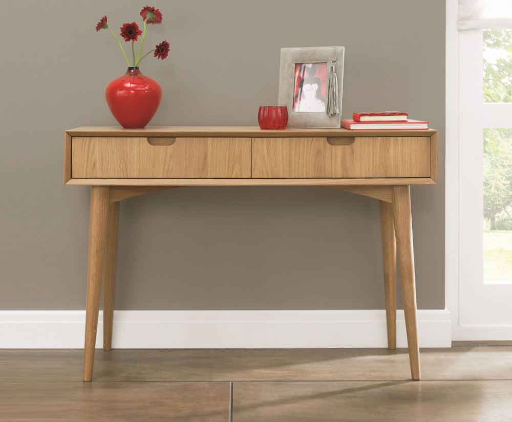 Orbit Oak Console Table With Drawers Oak Consoles Retro Dining Table Console Table Uk