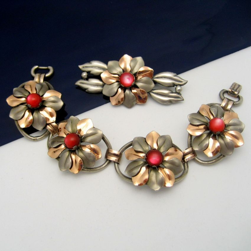 Items similar to KREISLER Rare Vintage Bracelet Brooch Pin Mid Century Mixed Metals Retro Red Satin Glass on Etsy