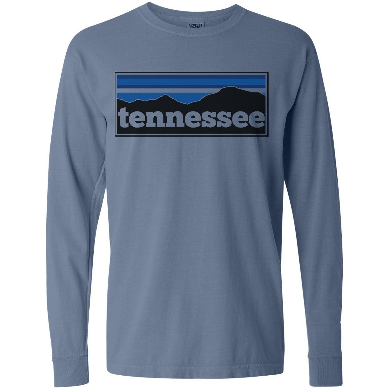 Adult Tennessee Mountain Range On A Long Sleeve Blue Jean T Shirt