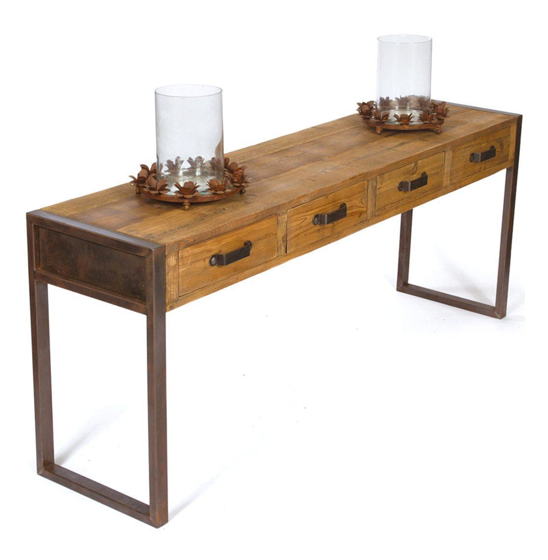 Furniture long console table with metal base and table top made from reclaimed wood with 4 drawers plus candle holders for narrow hallway spaces ideas