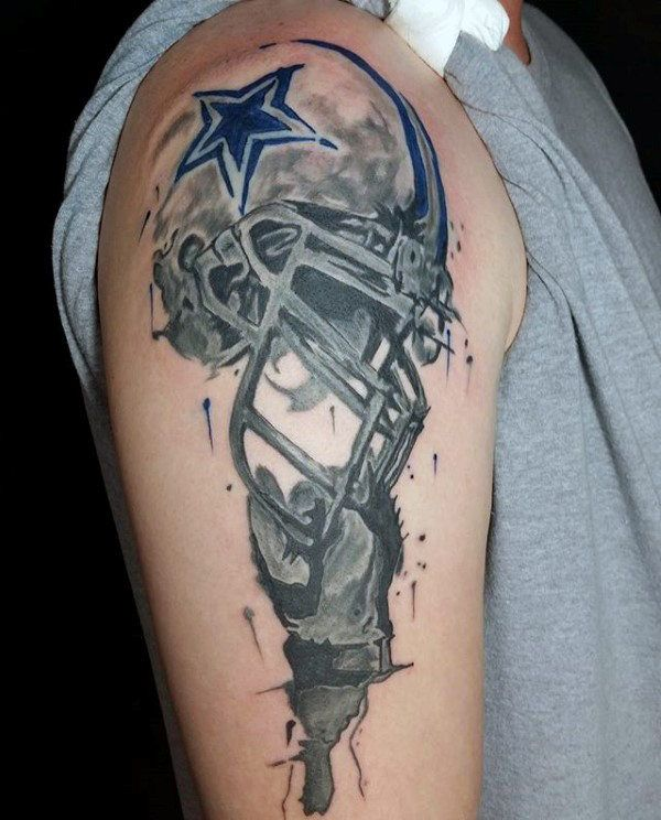 Watercolor mens football helmet arm tattoo design un for Dallas cowboys star tattoo