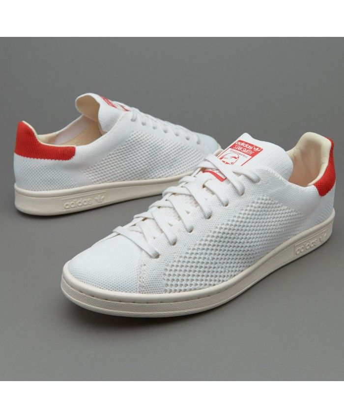 Mens Adidas Stan Smith OG Primeknit White Red Shoes Showing the  characteristics of Adidas fashion,