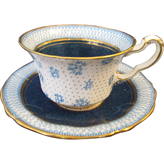English Paladin R Hughes & Co Fenton Deep Cornflower Blue White and Gold Bone China Cup and Saucer - c1920's