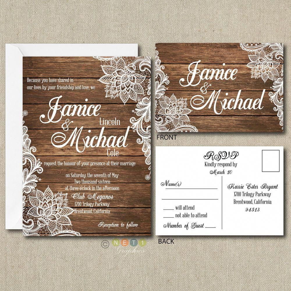 Details about 100 Personalized Country Rustic Lace Wedding Invitations &  Post Card RSVP in 2020 (With images)