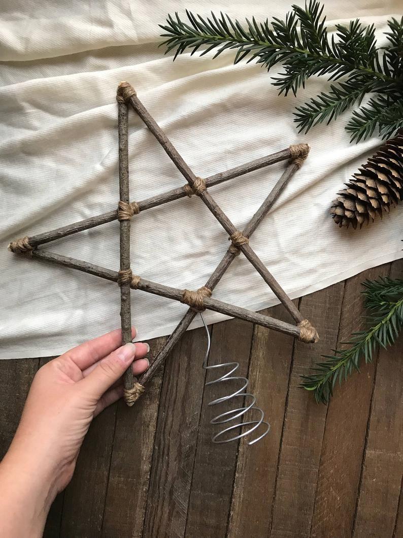 MEDIUM 11 Zoll Weihnachtsbaum Stern natürliche Holz und Bindfäden / Weihnachtsbaum Topper Sticks Zweige Primitive Eco Friendly Wald Dekor