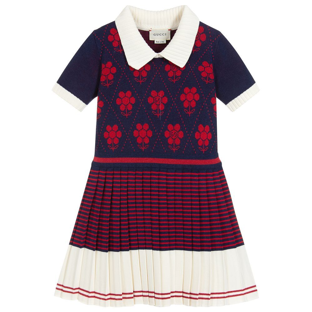 fbf70cfa7 Girls navy blue, red and ivory dress by luxury brand Gucci, made in ...