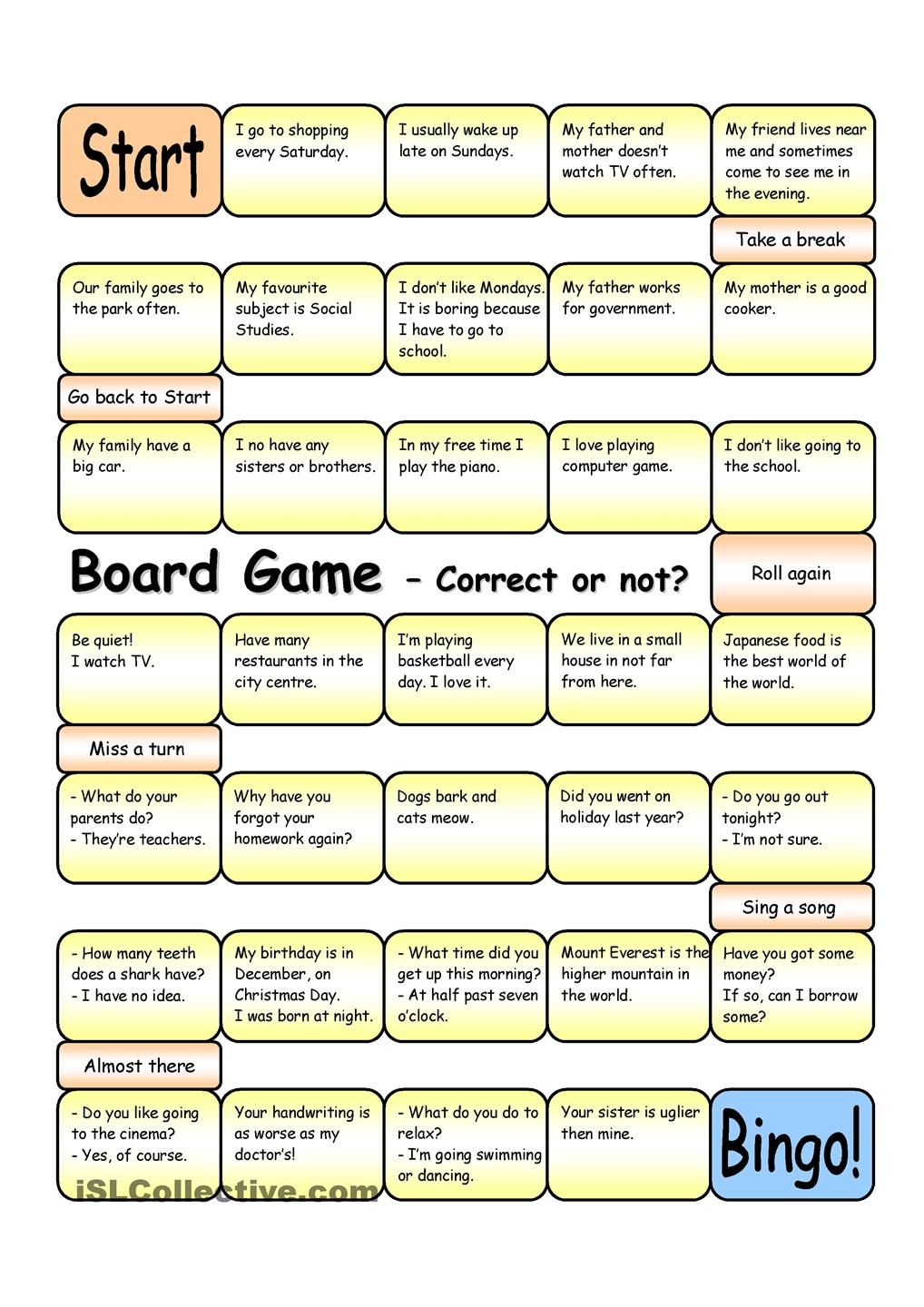 Esl Games Love This Board Game Correct Or Not Elementary Pre