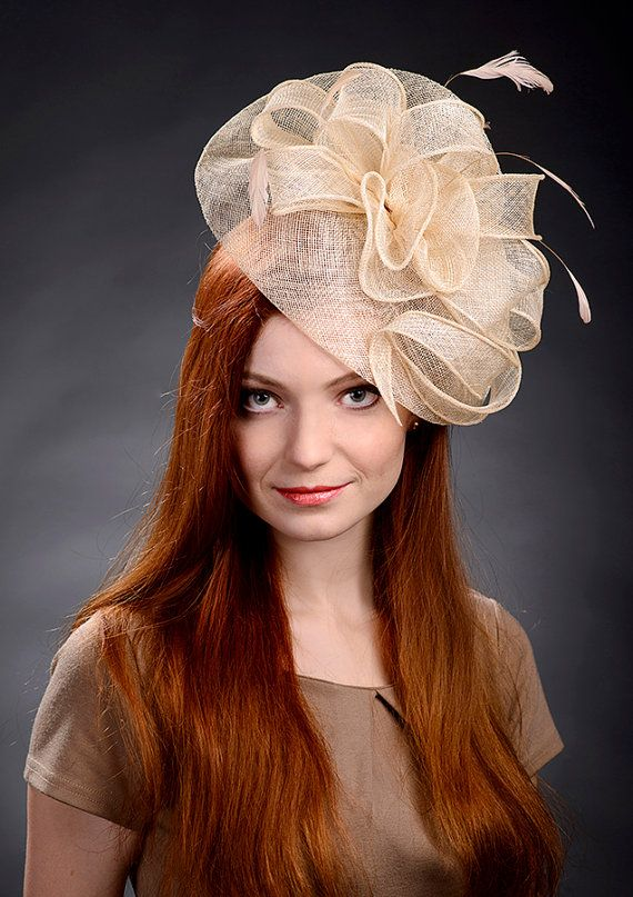 Champagne Beige Fascinator Hat for weddings Ascot by MargeIilane ... b1578aa7f2c