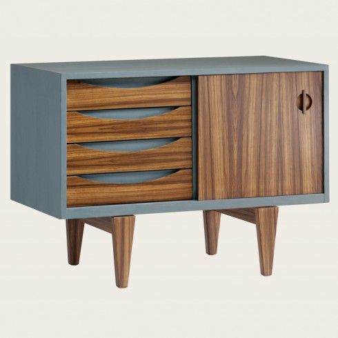 Credenza with sliding doors and wooden panels
