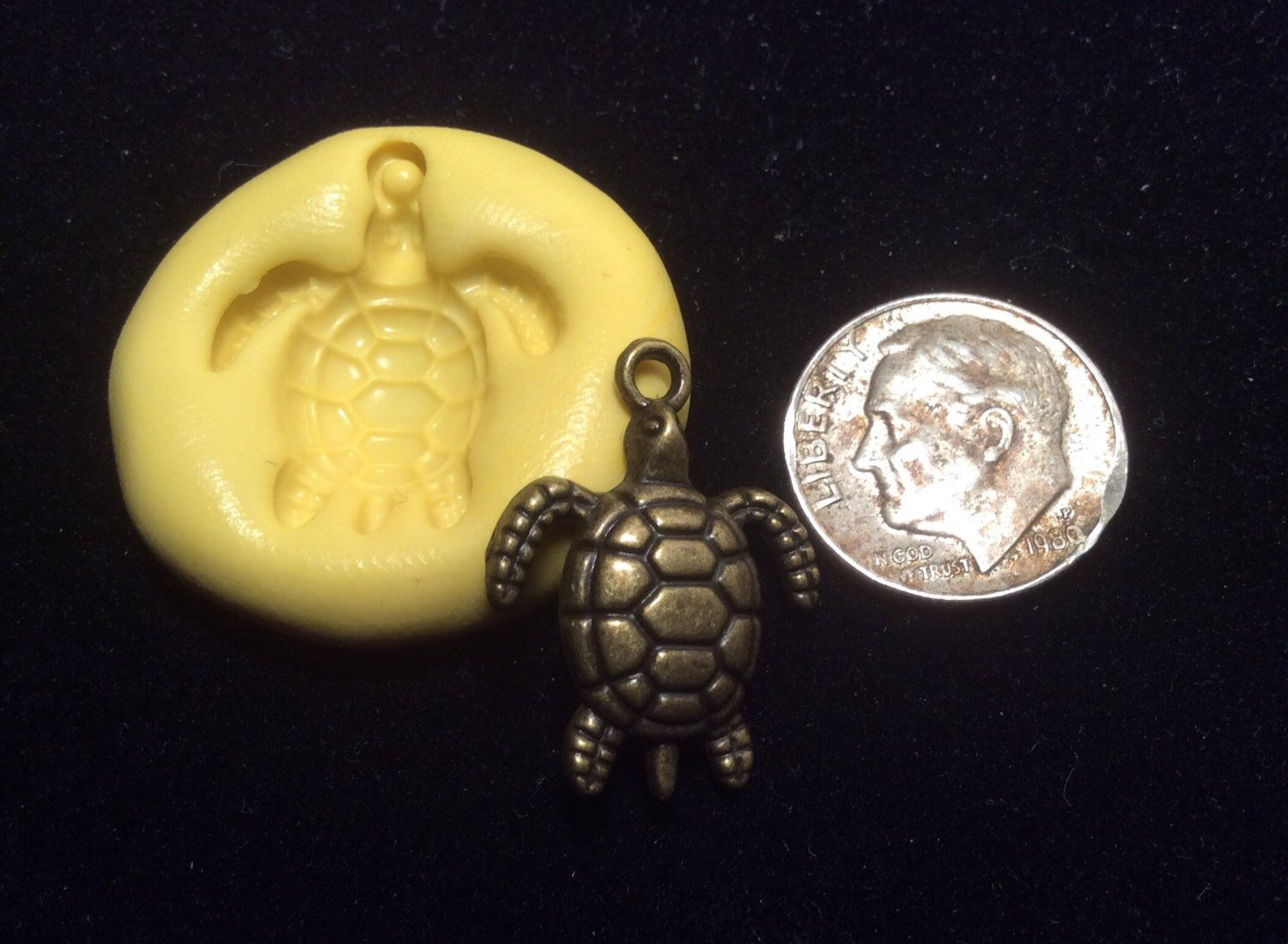 TURTLE tiny mold # 211 flexible silicone for soap candles cakes play doh jewelry mini minimolds food miniatures miniature doll accessories