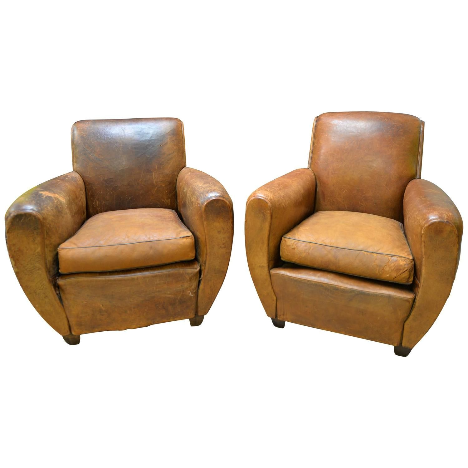 Good 1920s French Art Deco Leather Lounge Cigar Cub Chairs | From A Unique  Collection Of Antique