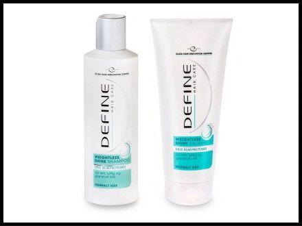 Define Weightless shine shampoo og balsam med silkeproteiner