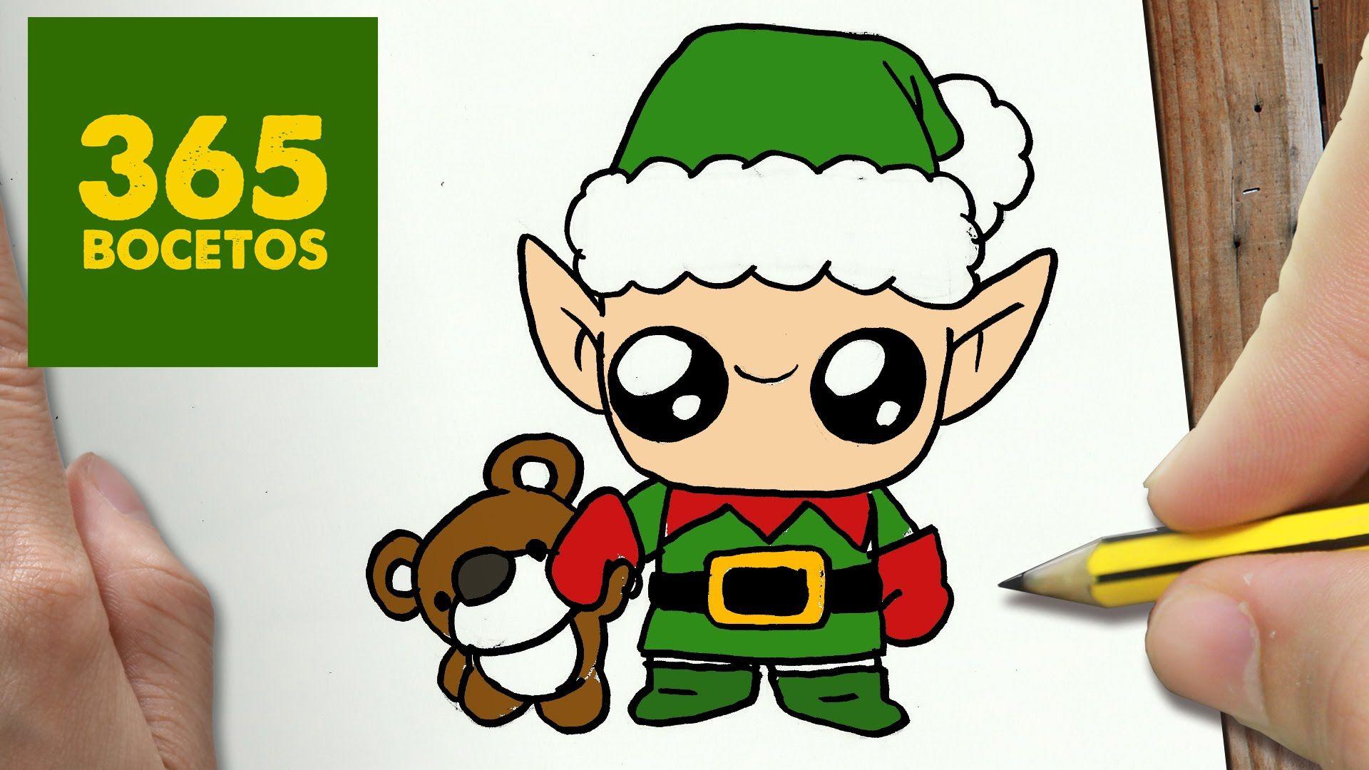 Como Dibujar Un Elfo Para Navidad Paso A Paso Dibujos Kawaii