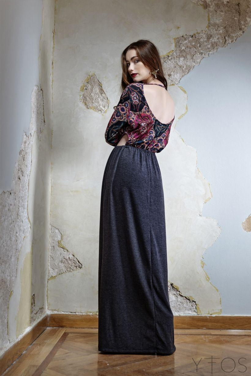 'Heliotrope' Grey & Print Maxi Dress by Nidodileda