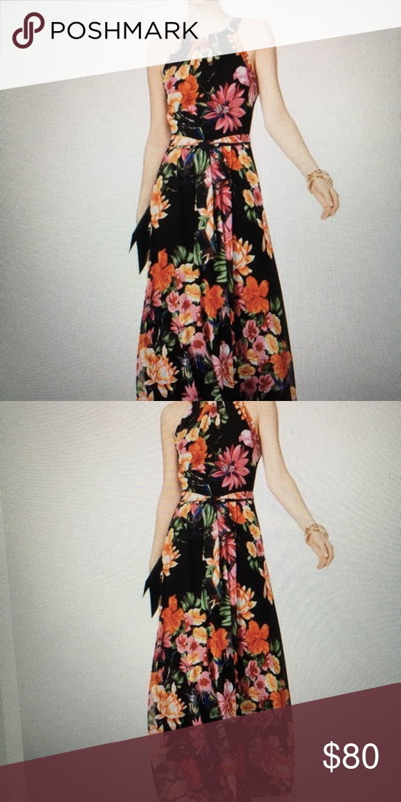 79f9f863395 Nwt INC floral maxi dress size 8 New with tags. Zipper down back. Halter  you tie so it can be adjusted. Tie around waste. Tropic heat black floral  dress ...