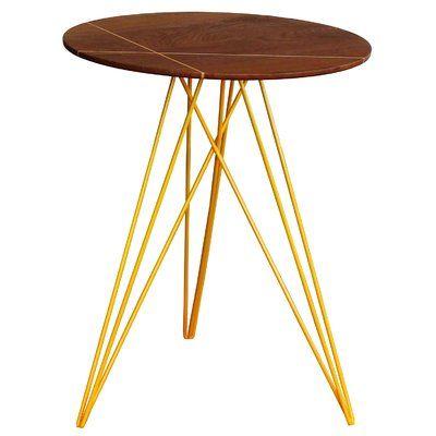 Tronk Design Hudson End Table Base Color Yellow Top Color Walnut End Tables Hudson Table Table