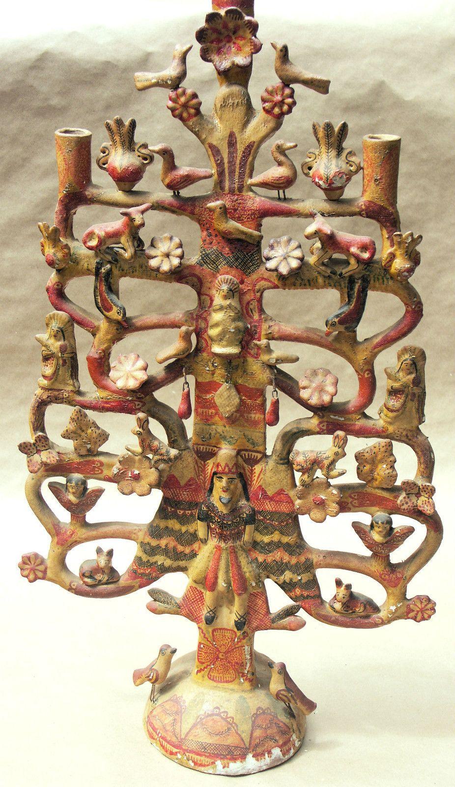 Antique Tree Of Life Ebay Mexican Folk Art Mexican Pottery Tree Of Life Art