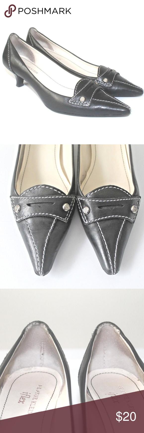 831e921259aa AK Anne Klein Iflex Black Kitten Heel Size 6M AK Anne Klein Iflex Black  Pointed Toe