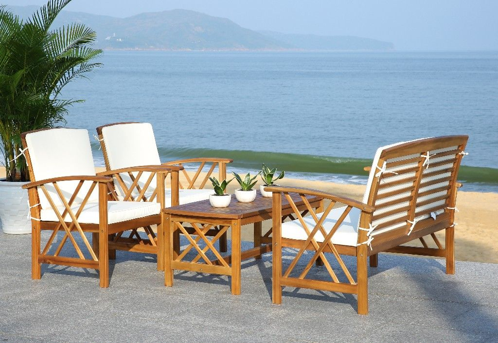 Fontana 4 Pc Outdoor Set in Natural/Beige - Safavieh ... on Safavieh Fontana 4 Pc Outdoor Set id=89837