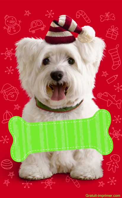 Carte joyeux noel mignonne gratuite a imprimer chien - Image de chien a imprimer ...