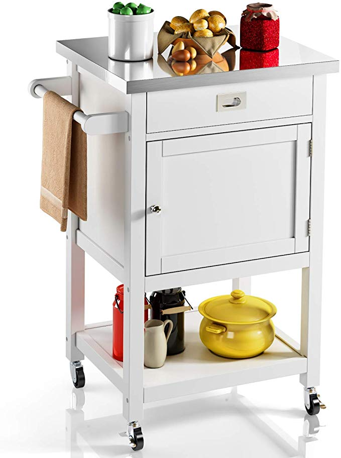 Download Wallpaper Rolling Kitchen Island Trolley Cart With White Drawer