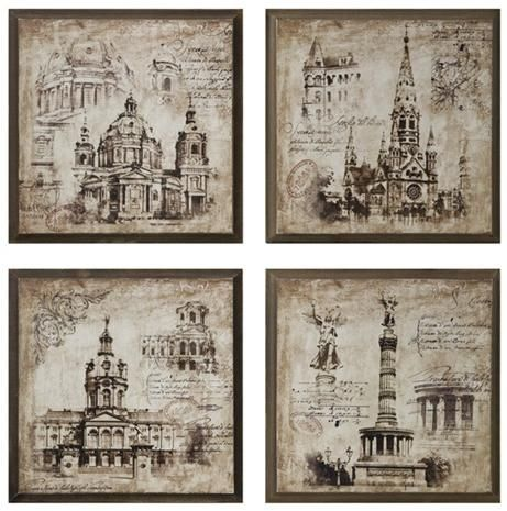 Old World Architectural Drawing Prints