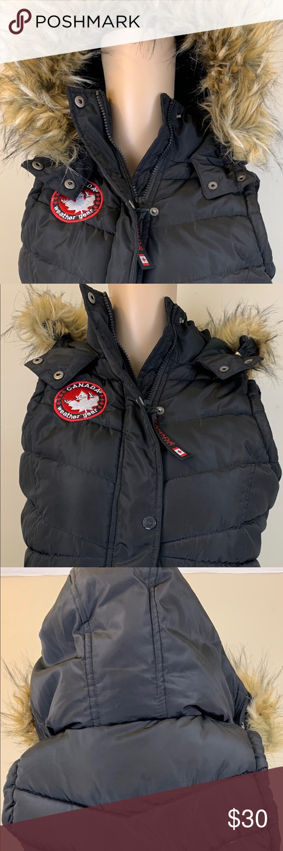 Canada Weather Gear Black Puffer Vest Medium 10 12 Black Puffer Vest Puffer Vest Black [ 1740 x 580 Pixel ]
