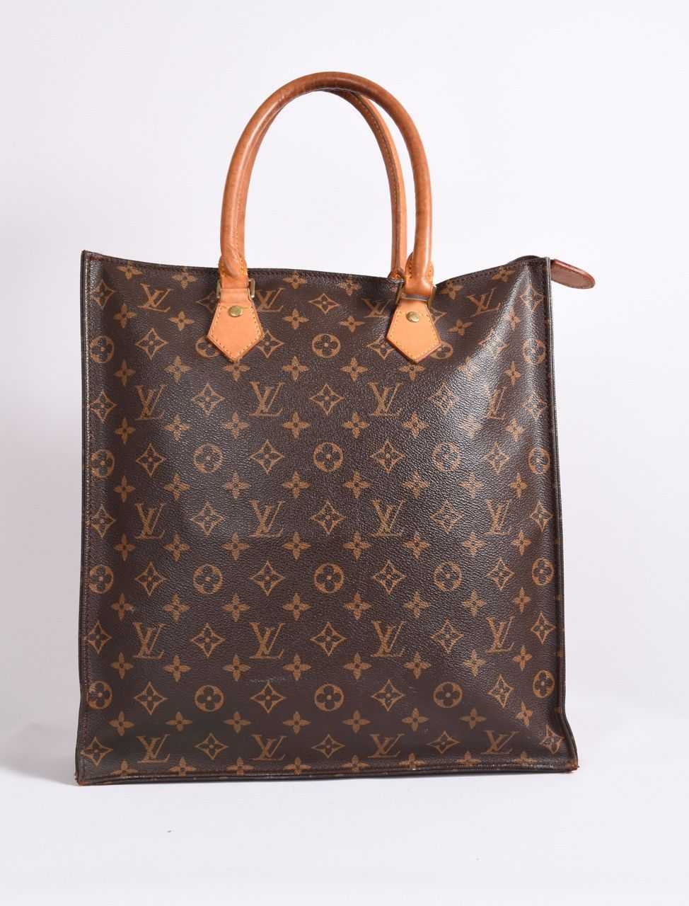 Brown and tan monogram coated canvas Louis Vuitton Sac Plat with brass  hardware c6bb2c24dbbd7