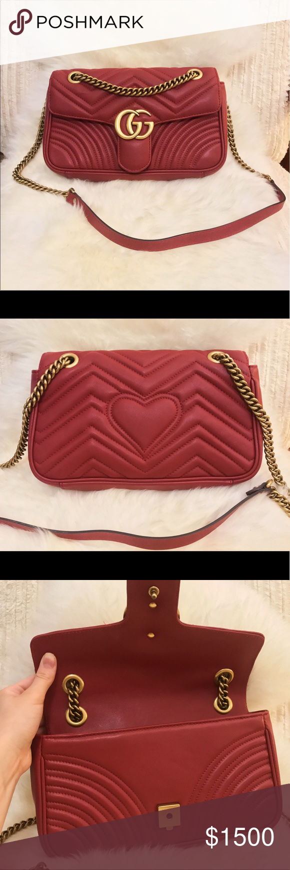 2090fb6fa Gucci GG Marmont Matelassé small bag Worn literally once and has zero signs  of wear. Hibiscus red leather. Has card of authenticity, dust bag, and  shopping ...