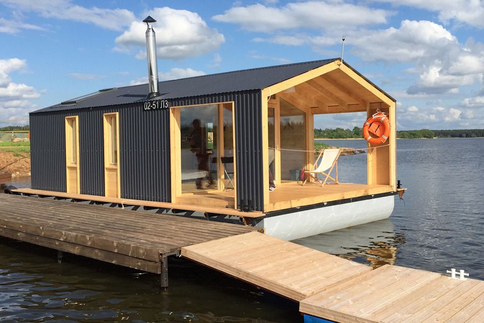 DublDom Houseboat, a modular floating cabin with a 280 sq ft studio on mobile shipyard, mobile hot tub, mobile swimming pool, mobile restrooms, mobile river, mobile bridge, mobile storage shed, mobile floating deck, mobile island,