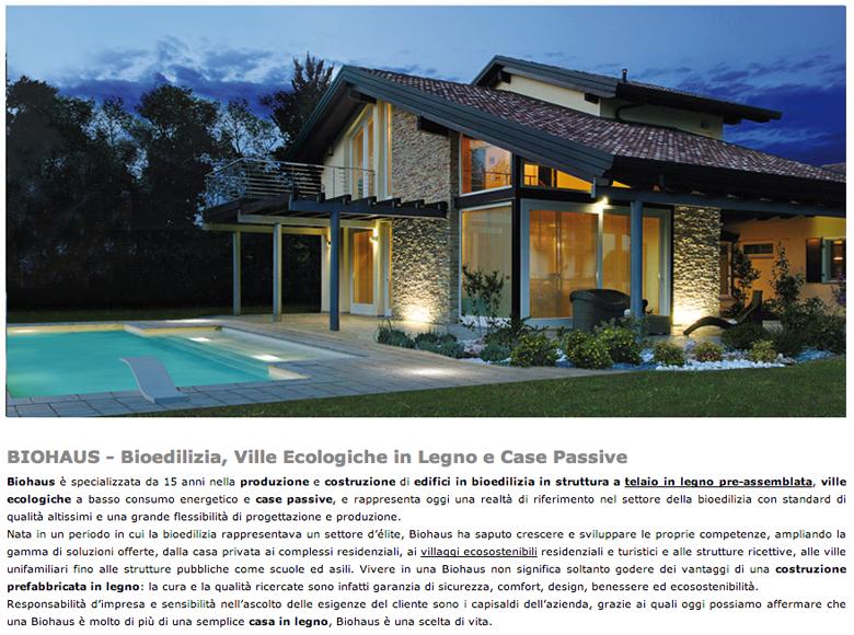 Biohaus bioedilizia ville ecologiche in legno e case passive http