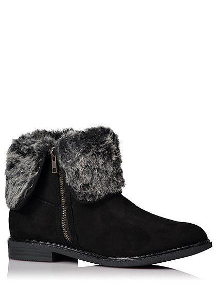 afa80ffe391 Black Faux Fur Trim Ankle Boots | Wardrobe Wonders | Fur trim, Faux ...