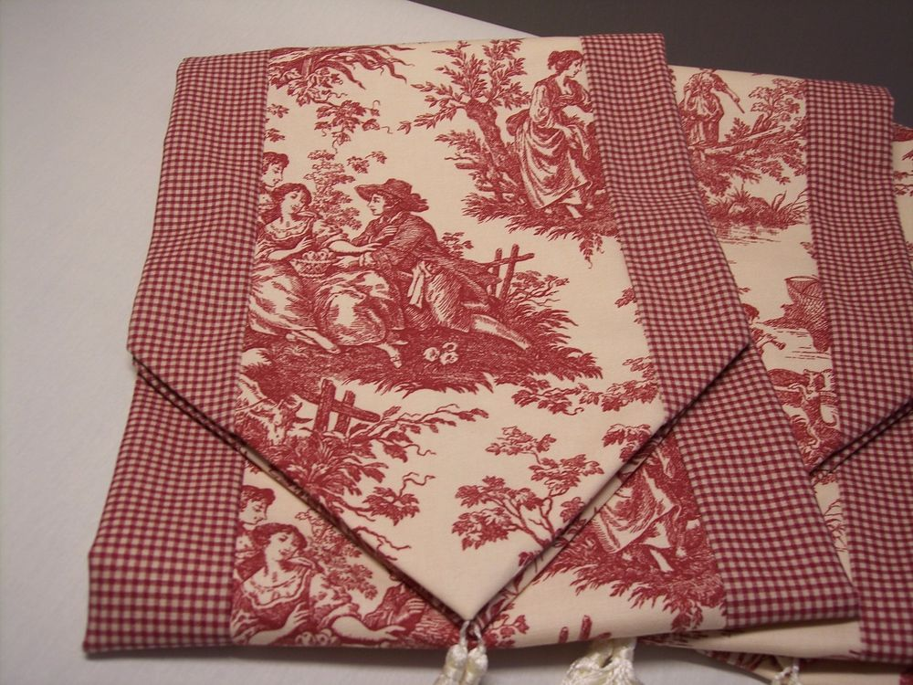 72 Red On Cream Waverly Country Life Toile Ck Tablerunner Tassels Last One French Country Fabric Waverly Fabric Waverly