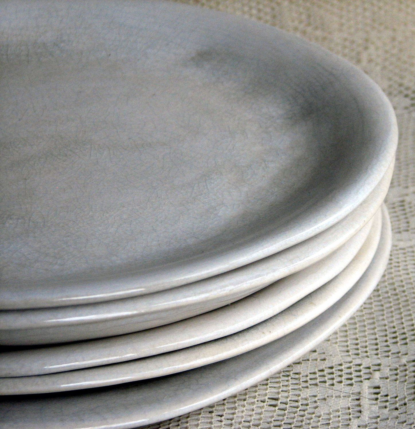 Amazing Handmade Organic Dinner Plate Set, White Crackle Dinner Plates, Stoneware,  Set Of Six, Custom Dinnerware By Leslie Freeman