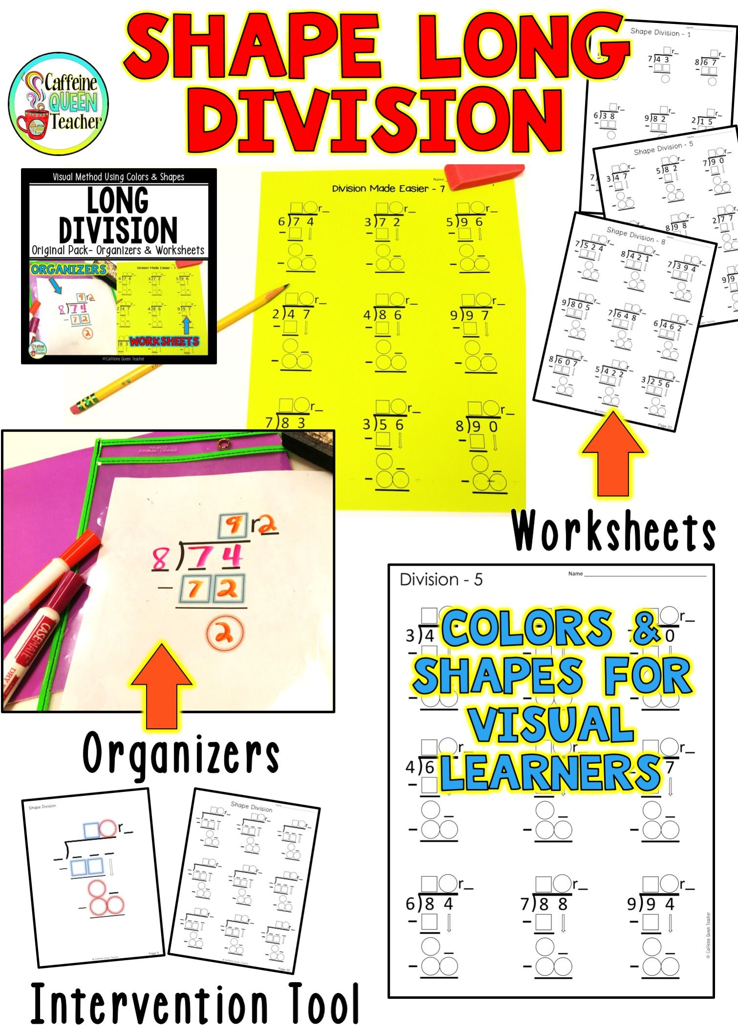 Long Division Worksheets and Organizers | Caffeine Queen ...