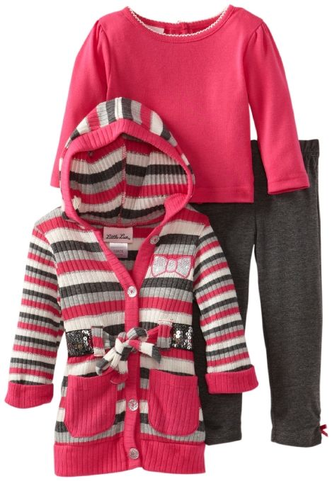 cb3436b848ad Amazon.com: Little Lass Baby-Girls Infant 3 Piece Belted Rib Knit Cardigan  Set: Clothing