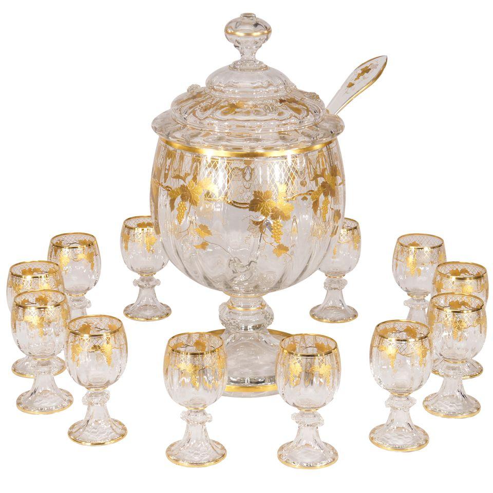 Lobmeyr Hand Blown Crystal Punchbowl, Goblets & Ladle W/ Raised Gold