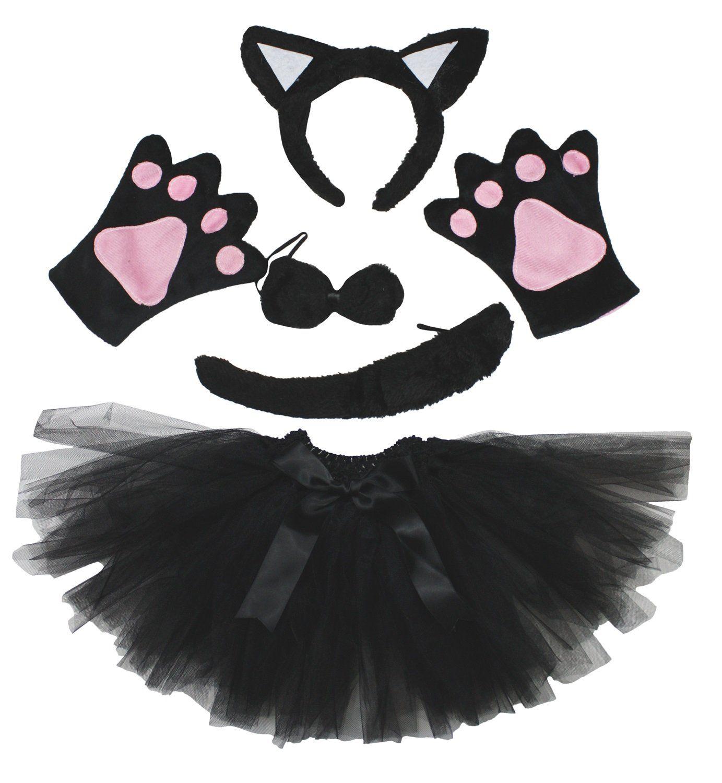 Kids Animals Kitten Costume Ears Headband Bowtie Tail Cute Cat Halloween Outfit
