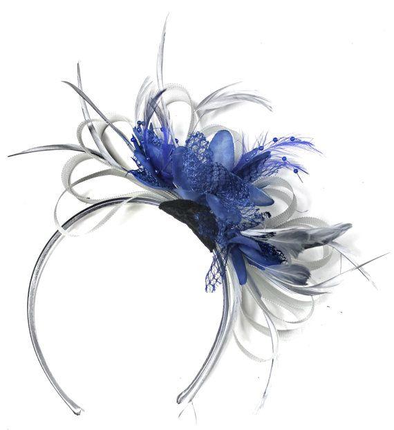 e6a598e449fa9 Caprilite Grey Silver & Royal Blue Fascinator on Headband AliceBand UK  Wedding Ascot Races Loop