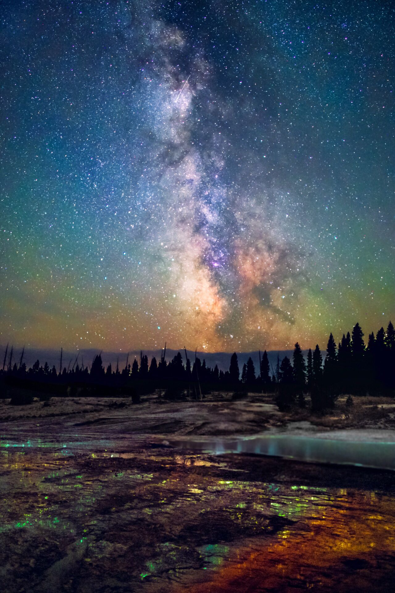 In every season, at every hour, Yellowstone National Park in Wyoming is a stunning and surprising landscape. Remote enough for dark skies to allow the Milky Way to shine and featuring steam rising from hot springs tinted with colorful bacteria and reflecting the aurora borealis, a night in the park offers enough wonders for a lifetime. Photo courtesy of Bryony Richards.